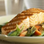 Grilled Alaska Salmon with Avocado and Papaya Spinach Salad