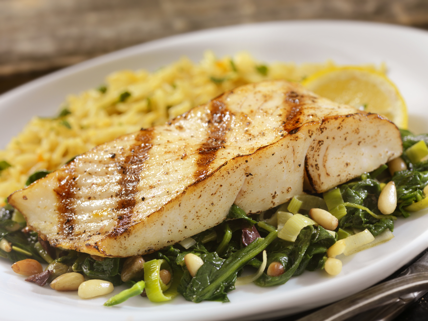 Grilled Halibut with Spinach, Leeks And Rice - Wild Alaska Salmon And Seafood Company