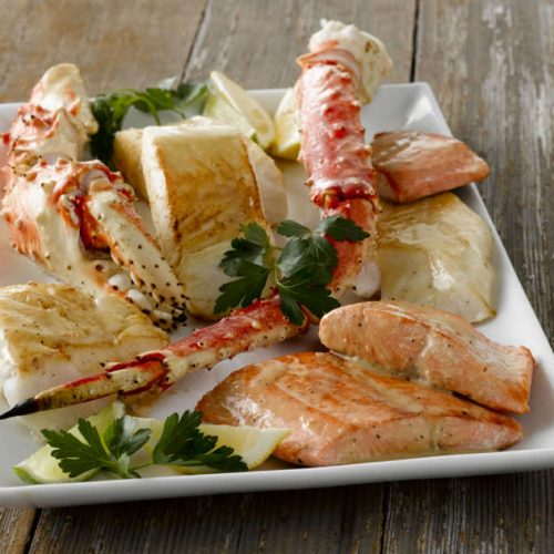 Crab, Salmon And Cod Fish Alaskan Seafood Combo - Wild Alaska Salmon And Seafood Company