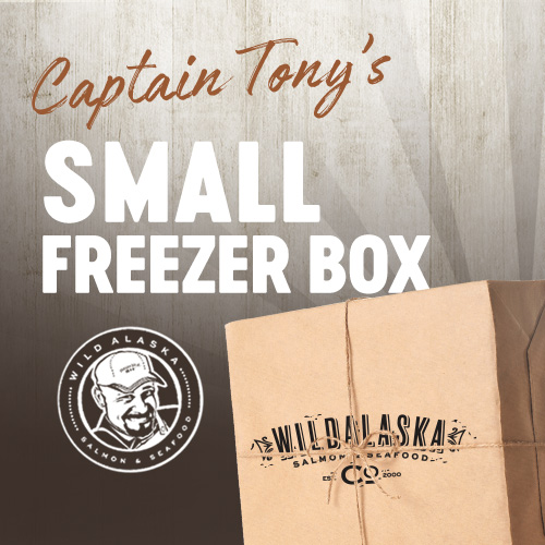 Small freezer box of wild caught seafood from Captain Tony