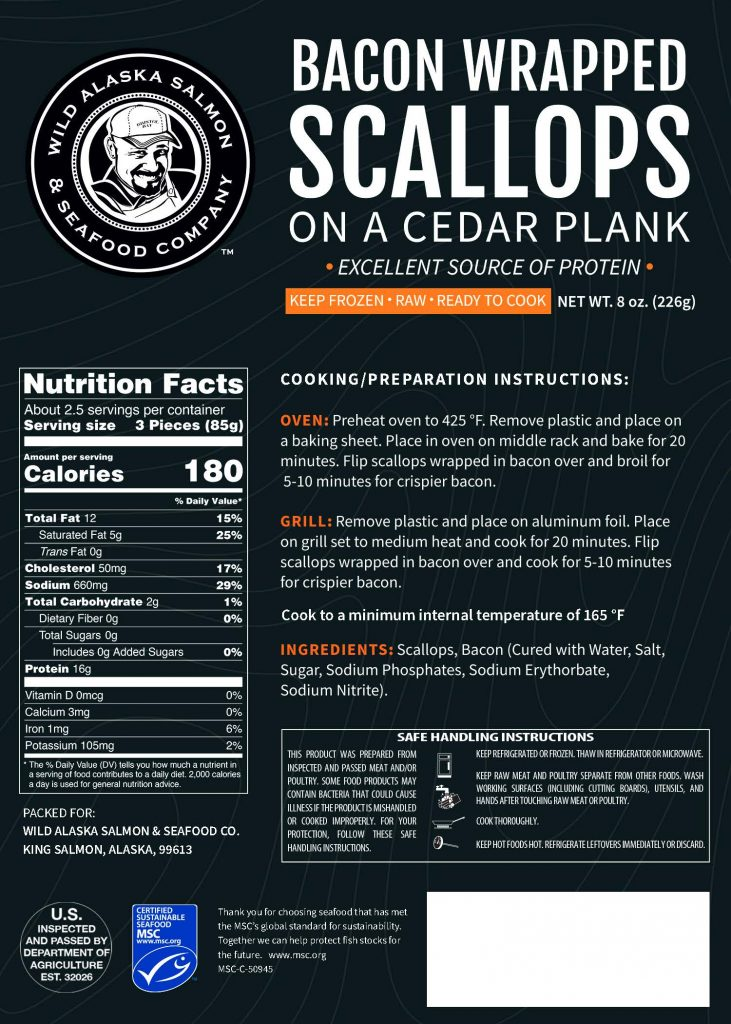 Bacon Wrapped Scallops Label