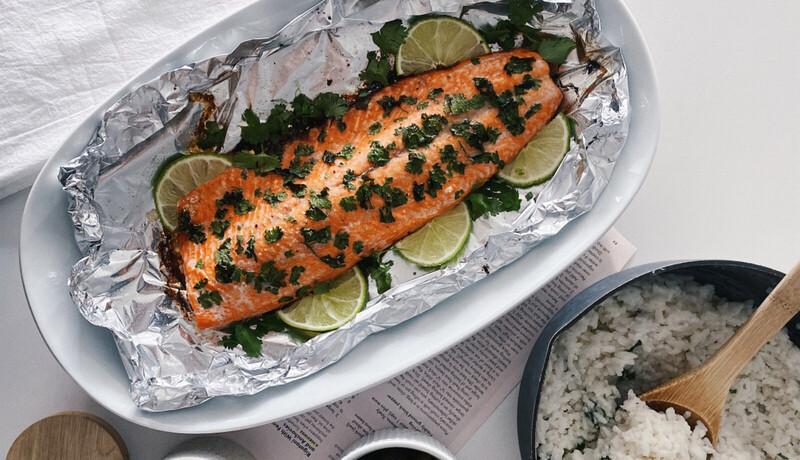 Cilantro lime salmon in a pan